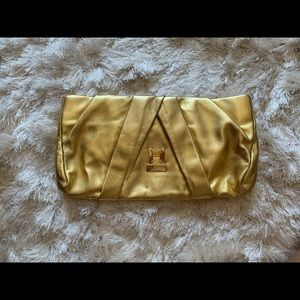 Gold Halston clutch bag small